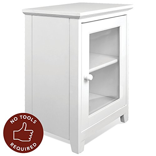 Stony-Edge White Night Stand – Easiest Assembly, No Tools Required - Premium Two Shelf Wooden Bedside Table or End Table with Glass Door - Heavy Duty Elegant Accent Furniture