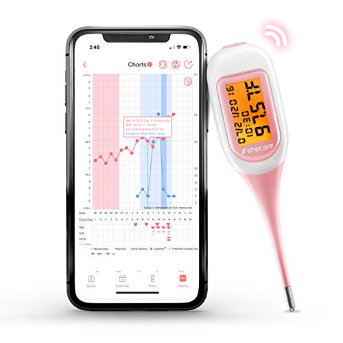 Shecare Smart Basal Thermometer for Ovulation Tracking, Digital Oral Body Temperature Thermometer for Fertility with Backlight, BBT Thermometer with Shecare App(iOS&Android)for Natural Family Planning