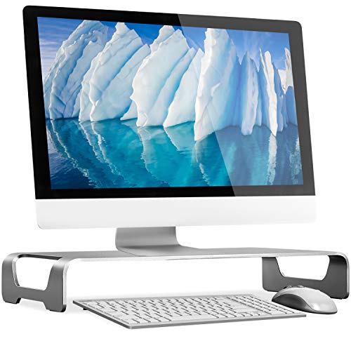 Mount-It! Aluminum Monitor Stand for iMac - Wide Unibody Monitor Riser - Metal Monitor Stand Desktop Organizer with Keyboard Storage - Universal Desktop Monitor Riser for PC, iMac, MacBook, Laptop