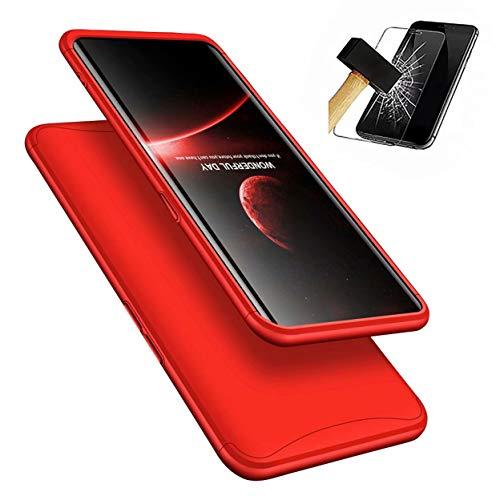 Oppo Find X Hülle + Panzerglas, LaiXin 360 Grad Handyhülle Ultra Dünn PC Plastik Anti-Kratzen Schutzhülle Schutz Hülle mit Bildschirmschutzfolie für Oppo Find X 2018 - Rot