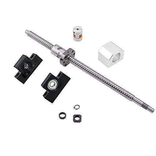 Vis à Billes CNC pièces SFU2510 RM2510 500mm Diam 25mm avec ÉCROULogement D'écrou + Supports d'Extrémité EK/ EF20 + 1 pcs Coupleur pour Imprimante 3D longueur Approx 19.7 inch/ 500mm