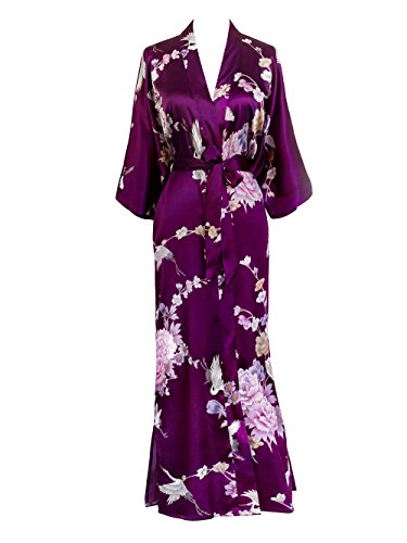 Old Shanghai Women's Kimono Long Robe - Chrysanthemum & Crane - Plum