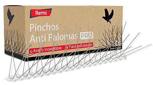 Remi Hogar Pack de 10 Metros de Pinchos Antipalomas | Púas para Palomas de Acero Inoxidable | Ahuyenta Palomas Efectivo | 20 Tiras de 50cm Montadas