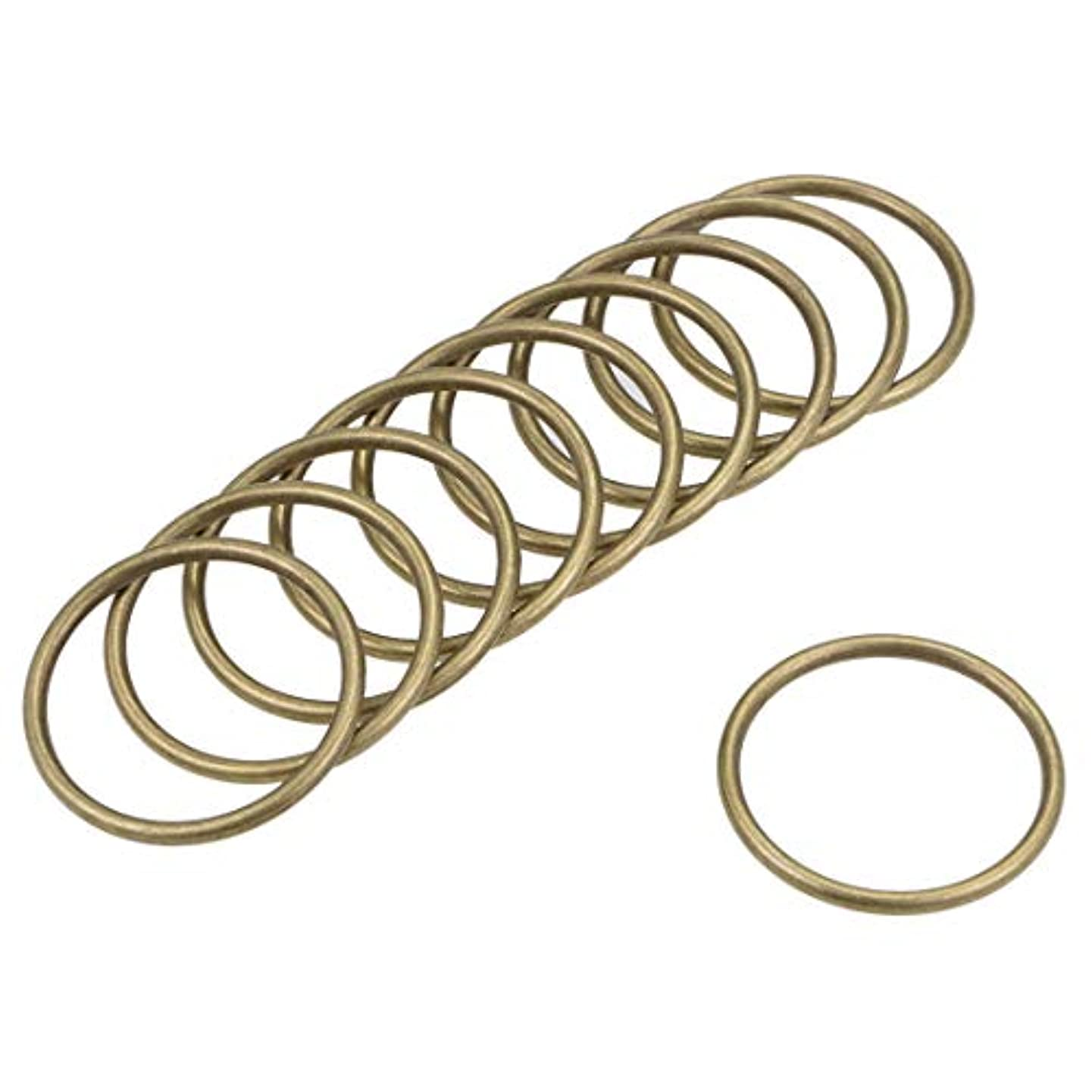 uxcell 10 Pcs O Ring Buckle 1.4-Inch(35mm) Metal O-Rings Bronze Tone for Hardware Bags Belts Craft DIY Accessories