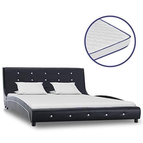 Festnight Bed met traagschuim matras kunstleer ledikantvoet voor volwassenen Kinderen zwart 140x200 cm
