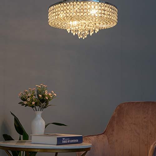 KOSILUM - Plafonnier prestige cristal - Moon - Lumière Blanc Chaud Eclairage Salon Chambre Cuisine Couloir - 4 x 40W - - E14 - IP20