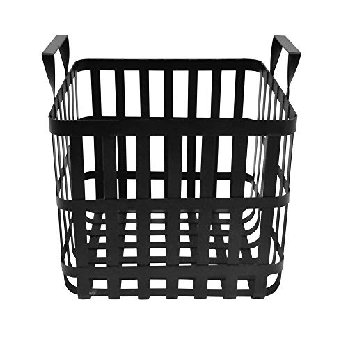 connox Collection - Aufbewahrungskorb mit Griffen aus Metall, schwarz, Aufbewahrung, Kleidung, Accessoires, Deko Korb, Höhe 30 cm