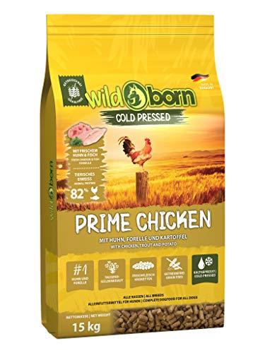 Wildborn Prime Chicken - getreidefreies Hundefutter kaltgepresst mit viel frischem Hühnchenfleisch | Hundefutter kaltgepresst getreidefrei (15 kg)
