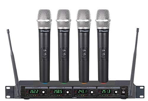 GTD Audio 4 Handheld Wireless Microphone mics System, Ideal for Church, Karaoke, Dj Party, Range up to 300 ft,