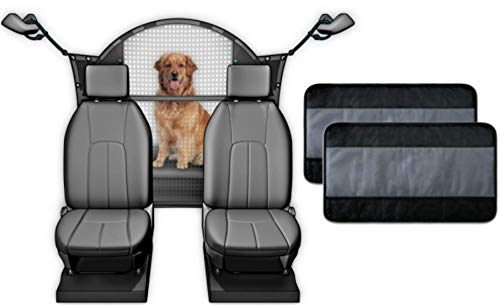Travelin K9 Car Dog Barrier / Car Divider for Dogs and Two Car Door Protectors. Dog Barrier - Universal Fit, Innovative Curved Top For Safety, Durable. Plus Two Car Door Covers to Protect Car Interior