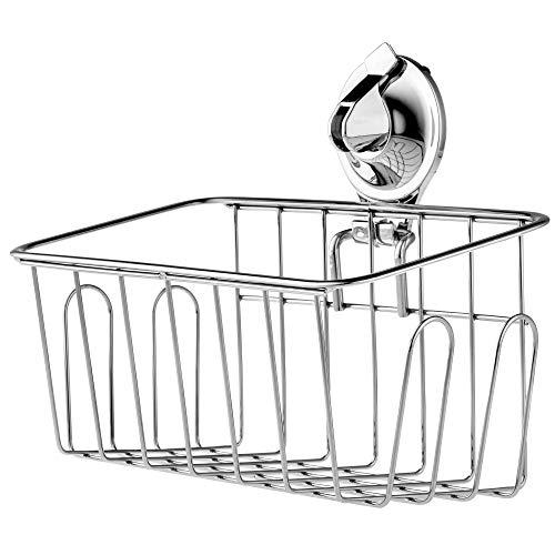 KADAX Duschkorb mit Saugnapf aus Edelstahl, Duschregal für Bad, Dusche, Badewanne, Schwamm, Shampoo, Duschgel, Duschablage, Badezimmerablage, Wandmontage, ohne Bohren