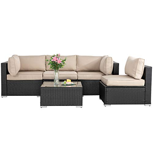 JAMFLY 5 Piece Patio Furniture Set, PE Rattan Wicker Outdoor Couch, Outside Small Patio Conversation Sofa Set, Low Back Garden Set, All-Weather Sectional Patio Set with Coffee Table (Khaki)