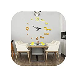 Acrylic Large Wall Clocks Sticker Living Room 3D DIY Quartz Watch Silent Movement Home Decor Horloge,Golden,60Cmx68Cm