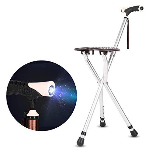 Taburete de bastón, asientos de bastón de 3 patas, asiento de silla de muleta, asientos de bastón de 3 patas, combo de silla de bastón, bastón de caminar plegable, con luz LED, ligero y ajustable,