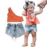 Bebé Niña 2 Piezas Traje de Ropa Verano Crop Top Camiseta de Manga Corta/sin Manga + Pantalones Cortos Conjunto de Tops + Shorts para Niña Pequeña (Naranja, 2-3 Años)