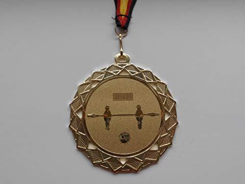 Fanshop Lünen 10 Stück Medaillen - Große Stahl 70mm (Gold) - mit Alu Emblem 50mm (Gold) - Kicker - Tischfußball - Fußball - mit Emblem 50mm, Gold - mit Medaillen-Band - (e111) -