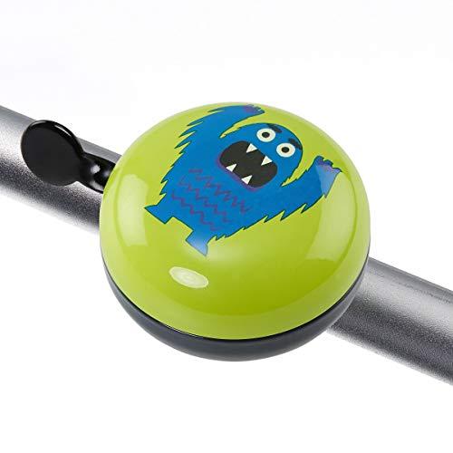 Butlers Ding Dong Fahrradklingel Monster Ø 8 cm mit lustigem Motiv - Grün-Blaue Klingel - Große Fahrradglocke aus Eisen