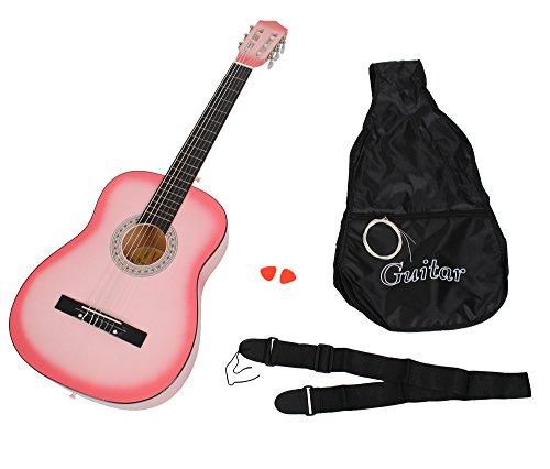 ts-ideen Akustik Gitarre Klassikgitarre Konzertgitarre Rosa Schwarz + Tasche und Gurt