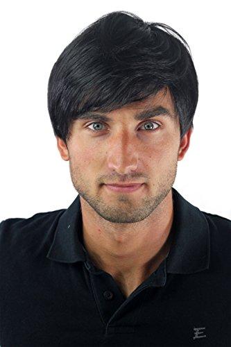 Peluca masculina, para hombres, bisoñé, cardado, corto, juvenil, moderno, informal, negro GFW-994-1B