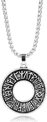 Punk Vintage Men S Cool Jewelry Norse Viking Ethic Black Hollow-Out Round Pendant Necklace