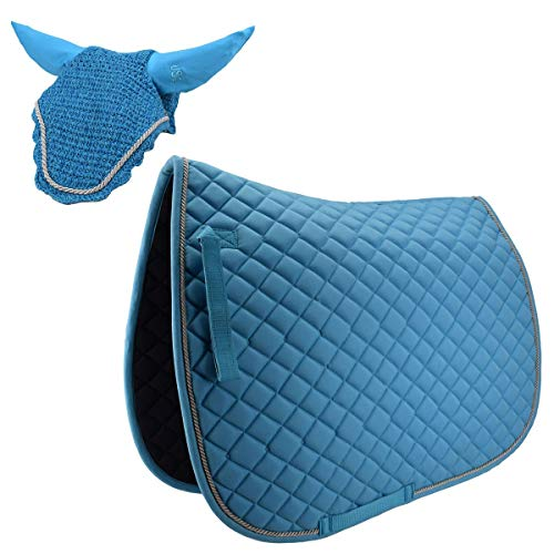 USG Sattelunterlage Schabracke mit passender Fliegenhaube als Set Warmblut DR, Farbe:hellblau