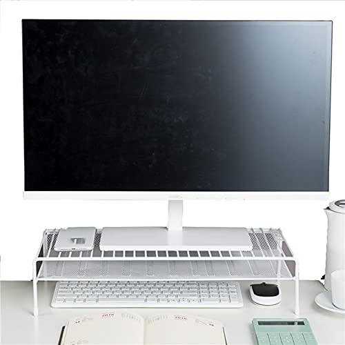 Soporte de Monitor único, Soportes de Monitor, Hierro, Duradero, para Como Un Monitor de Soporte, Soporte de Impresora, Soporte de Computadora, Elevador Portátil(Size:49x20.5x11.5cm,Color:blanco)