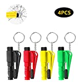 VECELO 4PCS Emergency Car Kit with Key chain, 3 in 1 Emergency Escape Tool, Safety Window Glass Hammer for...