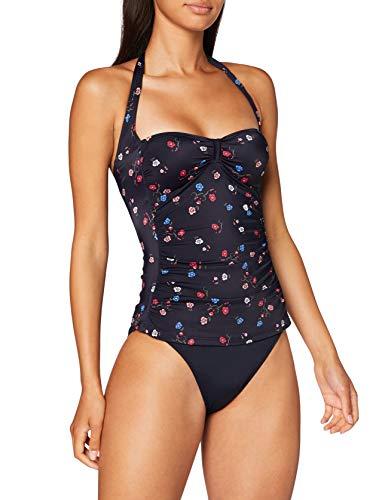 Marc O'Polo Body & Beach Damen Beach W-Tankini Bikini-Set, Schwarz (Blauschwarz 001), 40 (Herstellergröße: 040)
