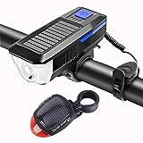 YKWYQ Luces Bici La luz Delantera de la Bicicleta de la Bici USB Solar Recargable LED Frontal Trasera Juego de Luces de Ciclo Impermeable de la Linterna de la Linterna de la Bici (Color : Blue Set)