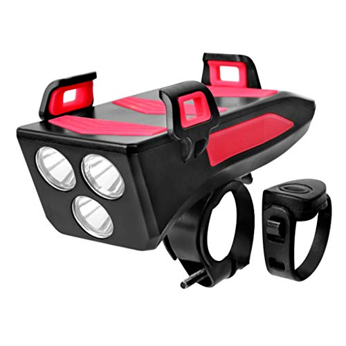 Marxways StVZO Approved,Bicycle Light 4 in 1 Phone Holder Headlight USB Rechargeable Bicycle Light Set IPX5 Waterproof Speaker Bike Alarm Bell Front Light for Road and Mountain. (Red)