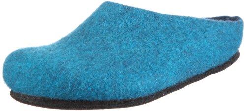 MagicFelt Hausschuh AN 709 aus Reiner Schurwolle - Damen und Herren Pantoffeln - rutschfest und anatomisch geformt in Blau (Petrol 4802), EU 42