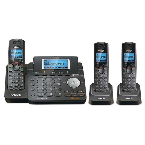 VTech DS6151-11 DECT 6.0 2-Line Expandable Cordless Phone + (2) DS6101-11 Accessory Handset, Black
