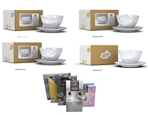 FIFTYEIGHT PRODUCTS Kaffeetassen 4er Set + Servietten, 200 ml, GRINSEND+Och Bitte+KÜSSEND+LECKER