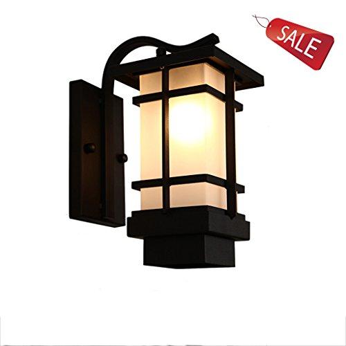 Applique Lumières d'allée Lumières extérieures imperméables de jardin Corps de lampe en fer Abat-jour en verre à haute transmittance Passage vintage pour les villas créatives Interface E27 A+