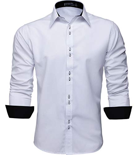 Camisa Social Masculina Manga Longa Slim Fácil Passar (M, Branco)