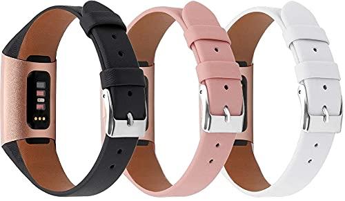 Reloj de Correa Cuero Compatible con Fitbit Charge 4 / Charge 4 SE/Charge 3 SE/Charge 3, Hombre Repuesto La Correa (3-Pack G)