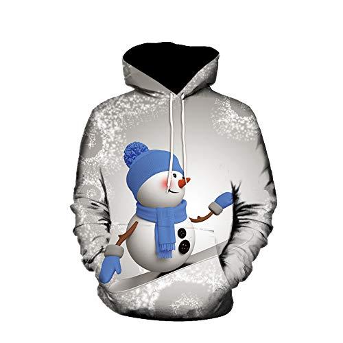 Paare Stil 3D Weihnachten Druck Hoodie Kapuzenpullover Langarm Sweatshirt Kapuzenjacke Shirt Sweater mit Taschen Von EUZeo Weihnachts Winterschlussverkauf Deals