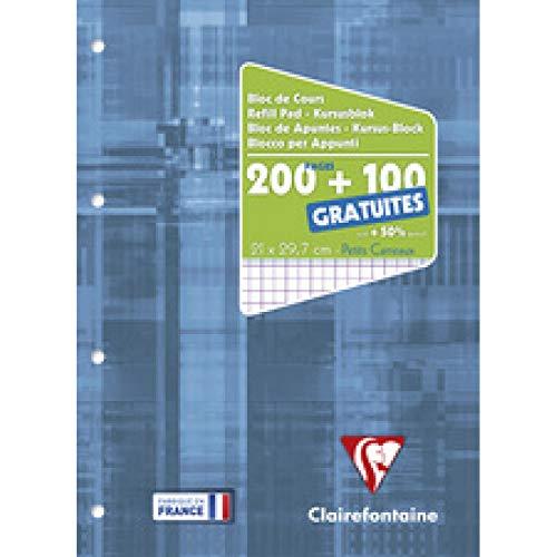 Clairefontaine 65816C - Un bloc de cours encollé grand côté 300 pages (200 + 100 gratuites) 90g, perforé 4 trous et petits carreaux, couverture carte pelliculée, Bleu électrique