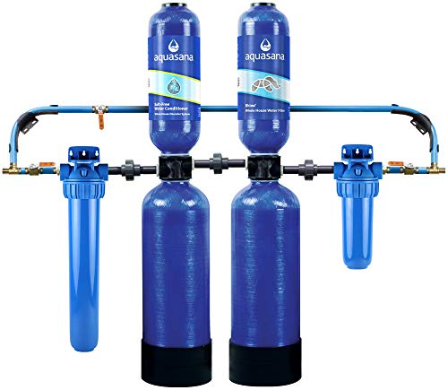 Aquasana Whole House Water Filter System - Water Softener Alternative - Salt-Free Conditioner, Carbon & KDF Home Water Filtration - Filters Sediment & 97% Of Chlorine - 1,000,000 Gl - EQ-1000-AST