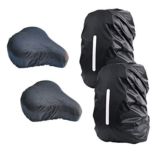 CHIFOOM 4stk Regenschutz Set,2 Rucksack Regenüberzug 2 Fahrradsattel Sattelbezug,Ranzen Regenhülle mit Fahrradsattelbezug Wasserdicht Sattelschutz Sattelbezüge für Camping Wandern Fahrrad Rennrad