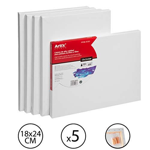 Pack 5 Lienzos Pre-estirados Lienzos para Pintar 18x24cm Lienzo Blanco Algodon 100% para Pintura Acrilica, Oleo y Técnica Mixta | Artix PRO