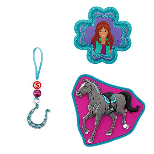 "Step by Step Magic Mags Schleich® Horse Club ""Lisa & Storm"", 3-teilig, 2 Magnet-Applikationen und 1 Anhänger, als Ergänzung für den Schulranzen oder Vorschulrucksack, für Mädchen"