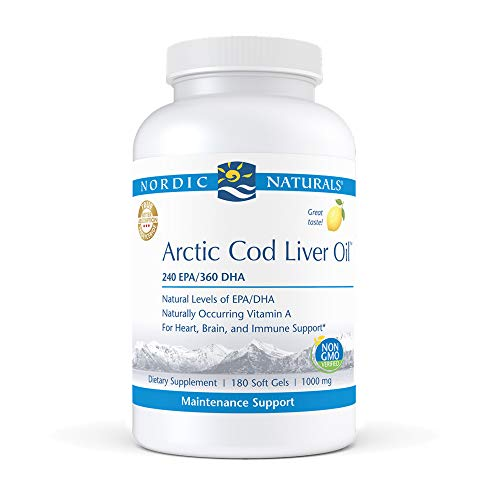 Nordic Naturals Pro Arctic Cod Liver Oil, Lemon - 180 Soft Gels - 750 mg Total Omega-3s with EPA & DHA - Heart & Brain Health, Healthy Immunity, Overall Wellness - Non-GMO - 60 Servings