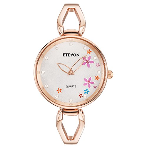 ETEVON Women's Quartz Rose Gold Bracelet Watch with Rhinestone Flowers Dial and Stainless Steel Case, Stylish Casual Dress Wrist Watches for Ladies