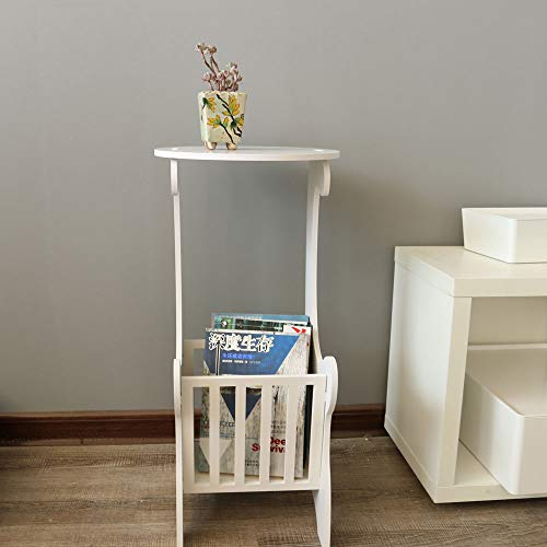 BuPin Small Coffee Table, Round Side Table Modern European Style End table, Lamp Magazine Table with Storage Table Snack Storage Holder for Bedroom Furniture Coffee Table White