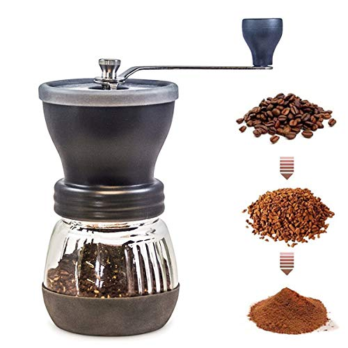 Manual Coffee Grinder with Conical Ceramic Burr Hand Ground Coffee Beans Taste Best, Infinitely Adjustable Grind, Glass Jar, Stainless Steel Built To Last, Quiet and Portable (one size)