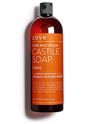 Cove Castile Soap Citrus - 1 Liter / 33.8 oz - Organic Argan, Jojoba, and Hemp Oils
