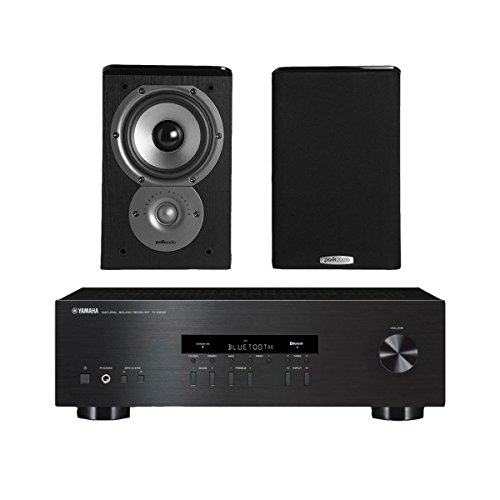 """Price comparison product image Yamaha R-S202 Stereo Receiver Bundle with Polk TSi100 2-Way Bookshelf Speakers with 5-1 / 4"""" Driver - (Pair) Black"""