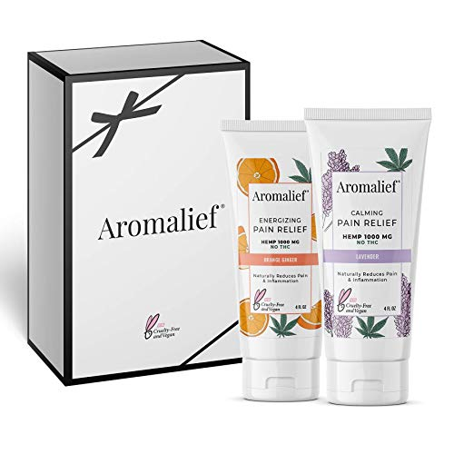 Aromalief Hemp Cream Gift Set with Aromatherapy - 1000MG 2 Pack - for Arthritis, Fibromyalgia, Stress, Knee, Joints, Cancer Pain Relief - Lavender and Orange Ginger