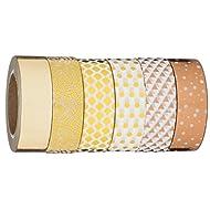 Washi Tape   Evermae Design Co. -- Mixed Metallics Premium Japanese Washi Tape, Set of 6 Rolls